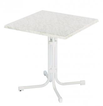 Gartentisch Piazza 70x70cm klappbar Stahl Topalit weiß/weiß marmoriert Bild 1