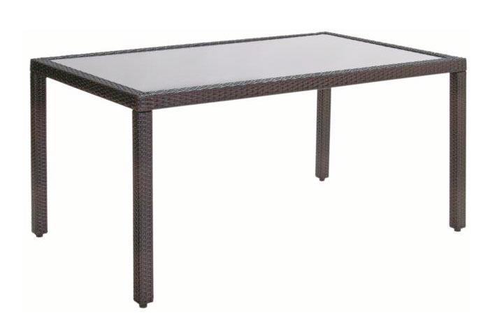 Gartentisch acamp Luzern 140x90cm Polyrattan grau / Glas Bild 1