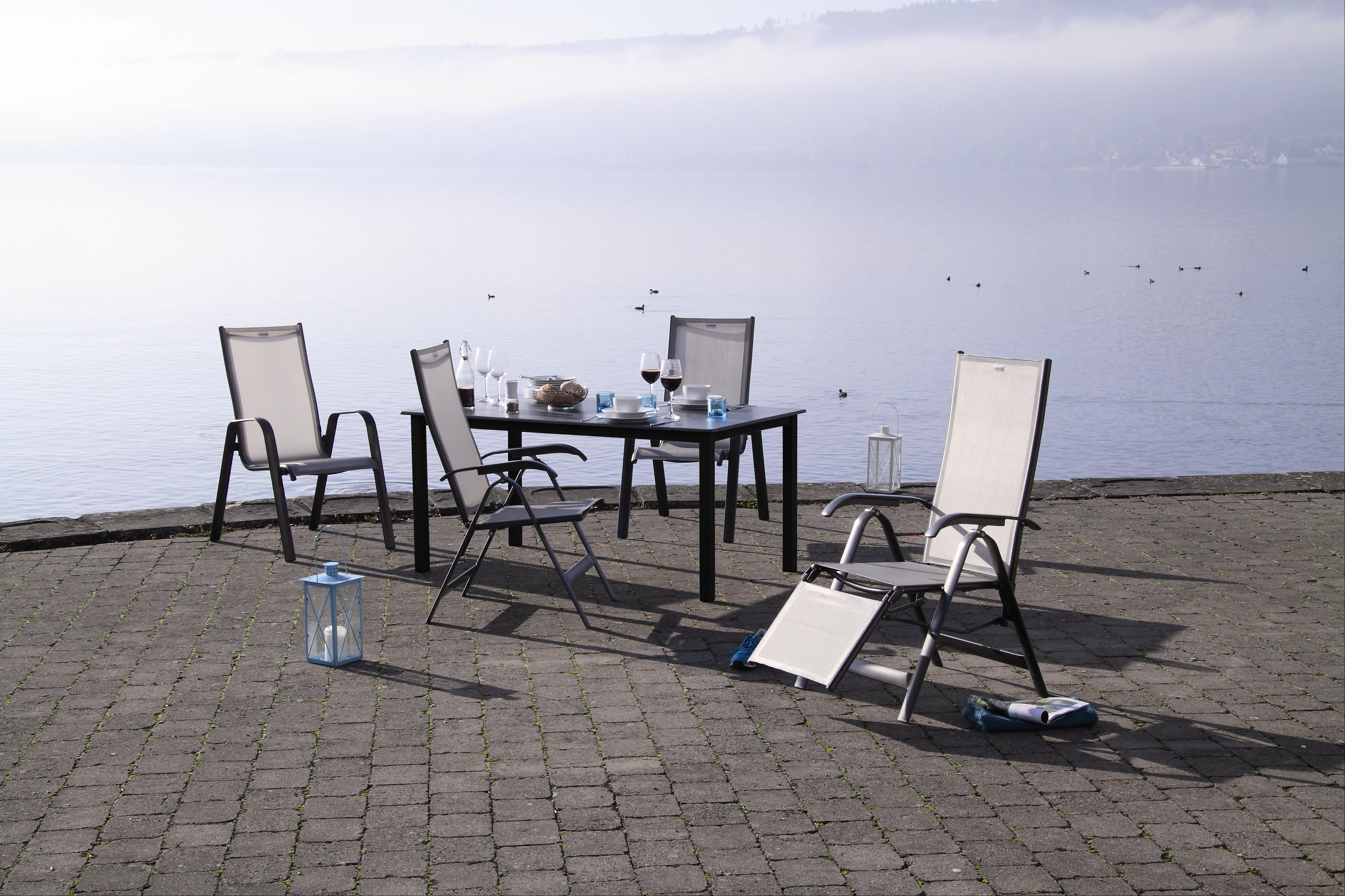 Gartentisch Acamp Acaplan Loft 160x90cm Alu Anthrazit Schiefer