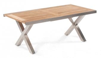 Gartentisch ausziehbar Spectra 190/250x100cm Edelstahl/Teak Bild 1