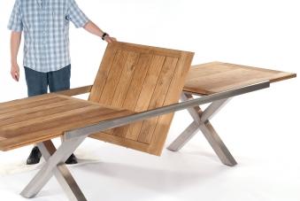 Gartentisch ausziehbar Spectra 190/250x100cm Edelstahl/Teak Bild 2