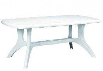 Gartentisch eckig Wellington 184 x 103 cm weiß Kunststoff Bild 1