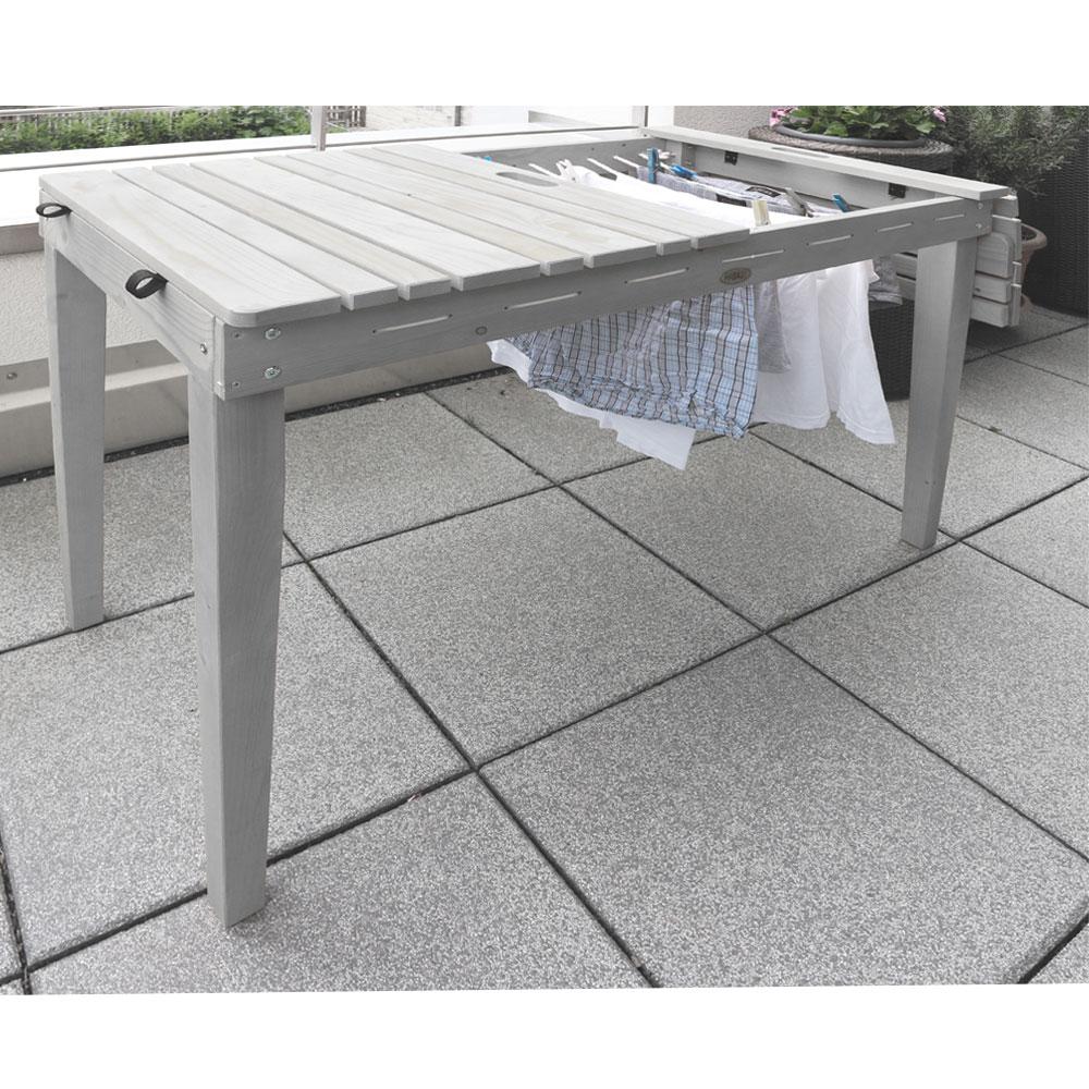 habau gartentisch balkontisch mit w scheleine holz grau 106x60cm bei. Black Bedroom Furniture Sets. Home Design Ideas