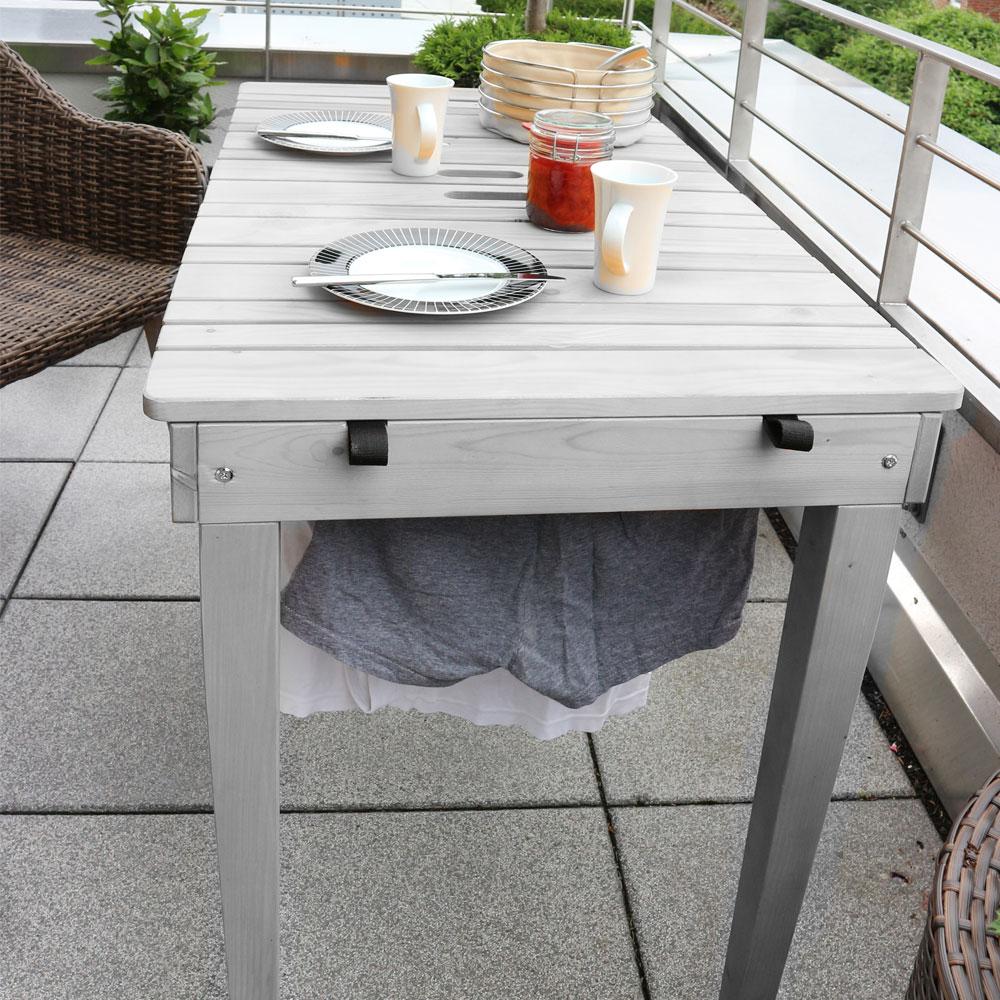 Turbo Habau Gartentisch / Balkontisch mit Wäscheleine Holz grau 106x60cm VV74