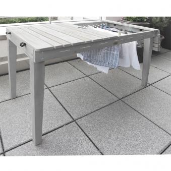 Habau Gartentisch / Balkontisch mit Wäscheleine Holz grau 106x60cm Bild 4