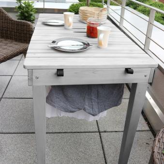 Habau Gartentisch / Balkontisch mit Wäscheleine Holz grau 106x60cm Bild 5