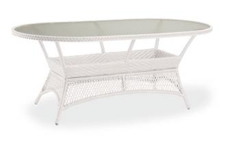 Korbtisch Gartentisch Madelene 180x100cm Bestolan-Geflecht oval creme Bild 1