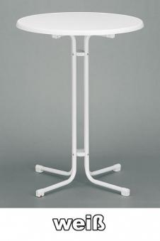 Kurz Stehtisch klappbar Ø 70 cm weiß marmoriert Stahl Bild 1