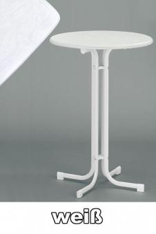 SIEGER Bartisch / Stehtisch klappbar Ø86cm weiß Stahl Bild 1