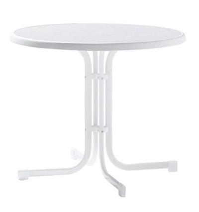 SIEGER Gartentisch / Klapptisch Ø86cm Stahl weiß / Mecalit weiß Bild 1