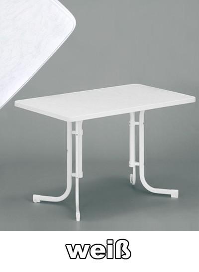 sieger gartentisch klapptisch 115x70cm stahl wei mecalit wei bei. Black Bedroom Furniture Sets. Home Design Ideas