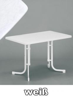 SIEGER Gartentisch / Klapptisch 115x70cm Stahl weiß / Mecalit weiß Bild 1
