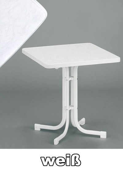 SIEGER Gartentisch / Klapptisch 70x70cm Stahl weiß / Mecalit weiß Bild 1