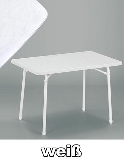 SIEGER Gartentisch klappbar 115 x 70 cm weiß Stahl Bild 1