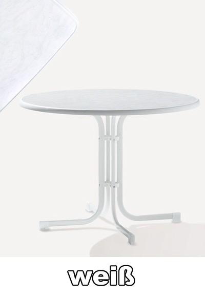 Gartentisch rund weiß  SIEGER Gartentisch klappbar rund Ø 100 cm weiß Stahl - bei ...