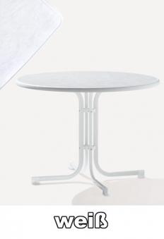 SIEGER Gartentisch klappbar rund Ø 100 cm weiß Stahl Bild 1