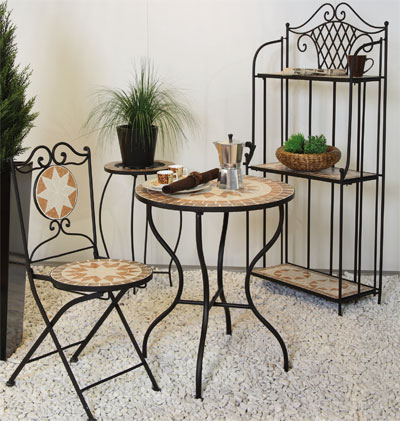 gartentisch balkontisch rund finca 60 cm mit mosaik schwarz eisen bei. Black Bedroom Furniture Sets. Home Design Ideas