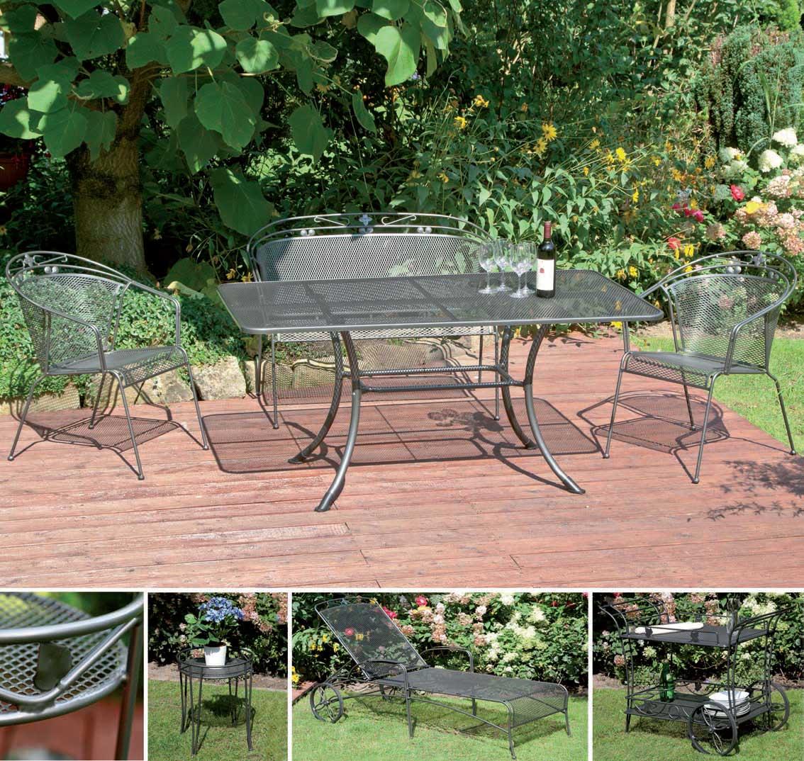 gartentisch streckmetall 145x90cm eisengrau bei. Black Bedroom Furniture Sets. Home Design Ideas