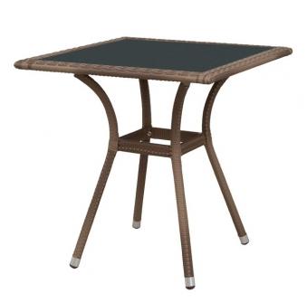 gartentisch wien polyrattan mit glasplatte 70x70 cm sand bei. Black Bedroom Furniture Sets. Home Design Ideas