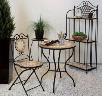 Siena Garden Serviertablett + Untergestell Finca Mosaik schwarz Eisen Bild 2