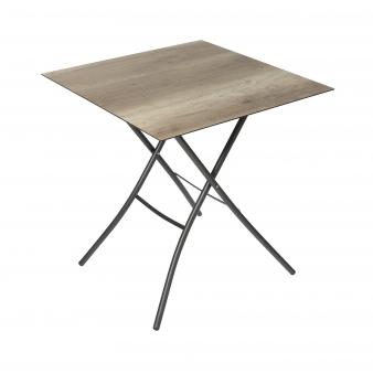 Sungörl Gartentisch / HPL Klapptisch Holzdekor 70x70cm anthrazit Bild 1