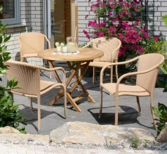 Sunny Smart Gartentisch rund klappbar York Ø100cm Teak Bild 3