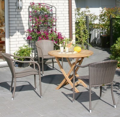 Sunny Smart Gartentisch rund klappbar York Ø70cm Teak Bild 3