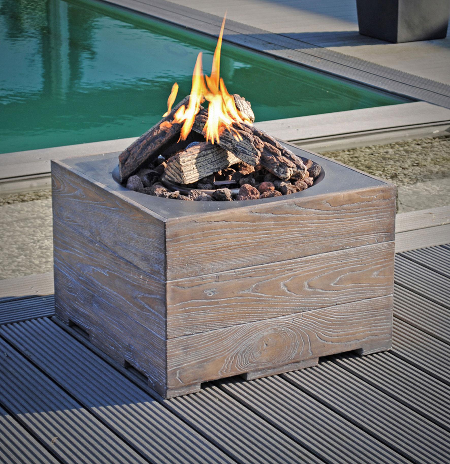 Terrassenfeuer Gas / Gartentisch Clifton Standard Teak 60x60cm 15kW Bild 2