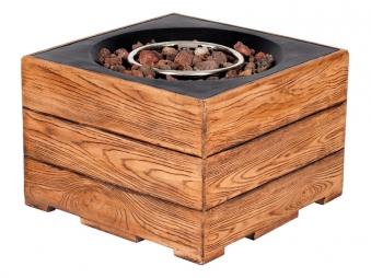 Terrassenfeuer Gas / Gartentisch Clifton Standard Teak 60x60cm 15kW Bild 1