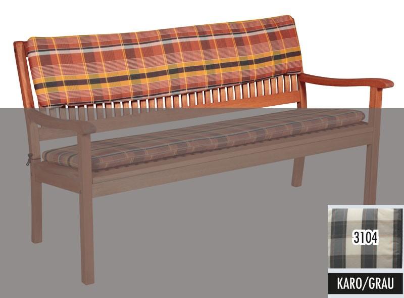 Gartenmobel Holz Toom : Auflage  Rückenpolster 3Sitzer Gartenbank 150x30cm D 3104 Karo grau