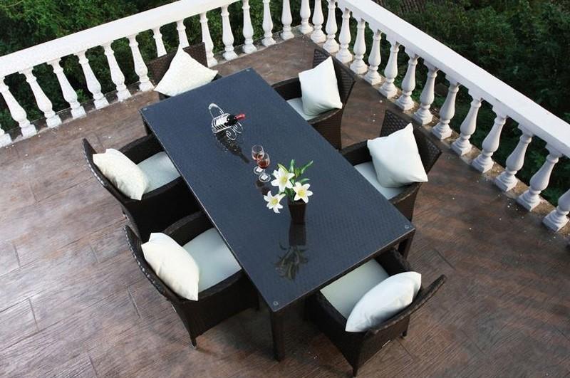 Gartenmobel Set Verona : Outflexx Gartenmöbel Polyrattan Esstisch und 6 Stühle braun 1285