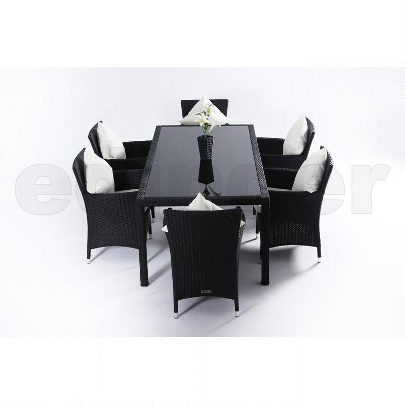 Outflexx Gartenmöbel Polyrattan Esstisch und 6 Stühle schwarz 1280