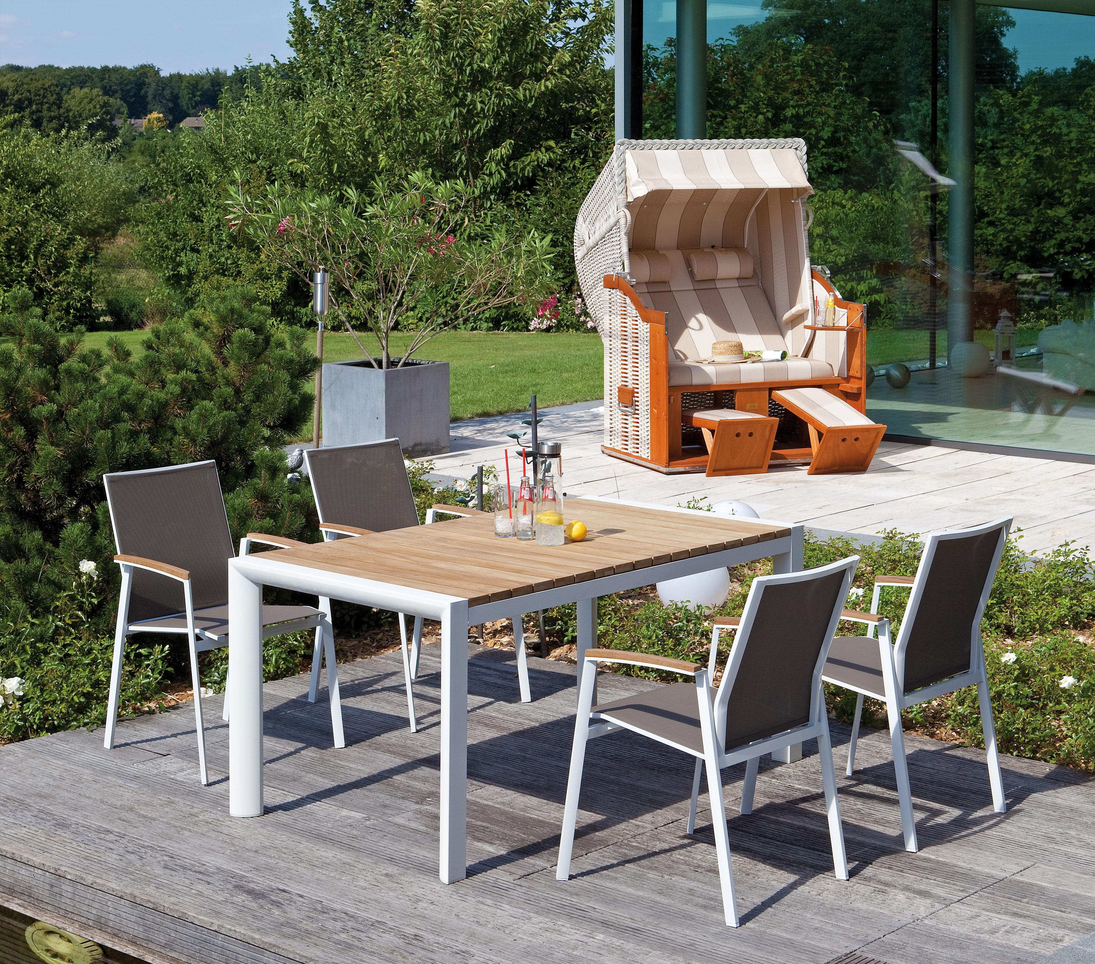 Sonnenpartner Gartenstuhl stapelbar Fresno Alu weißtaupe  bei