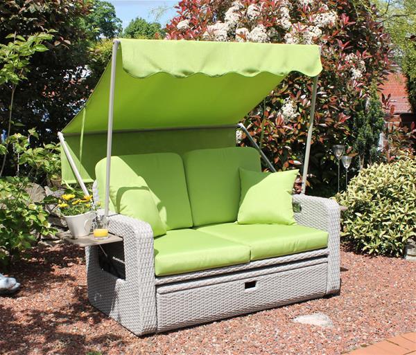 LECO Lounge Gartenmöbel Wohlfühl-Rattan-2-Sitzer Sonnendach natur grün