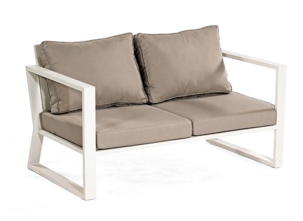 SonnenPartner Lounge Sofa / Gartensofa 2-Sitzer Lounge Comfort Alu weiß