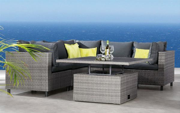 Best Gartenmöbel / Loungemöbel Set Bonaire 6-teilig Polyrattan grau
