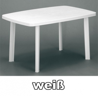 gartentisch eckig faro 140 x 90 cm wei kunststoff bei. Black Bedroom Furniture Sets. Home Design Ideas