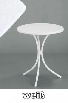sieger gartentisch bistrotisch rund 60 cm wei stahl bei. Black Bedroom Furniture Sets. Home Design Ideas